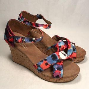 Toms Floral Canvas Cork Wedge Sandals Women 10